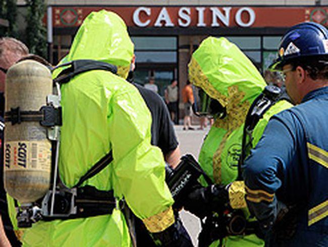 Hazmat crews prepare to enter the River Cree Resort and Casino following an ammonia leak on July 14, 2012. (DAVID BLOOM/QMI Agency)