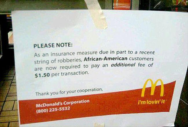Hoax McDonald's sign