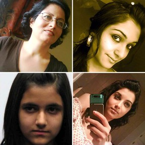 Clockwise from top left: 53-year-old Rona Amir Mohammad, Zainab Shafia, 19, Sahar Shafia, 17, and Geeti Shafia, 13.