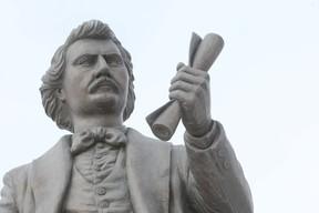 A statue of Louis Riel at the Manitoba legislature.