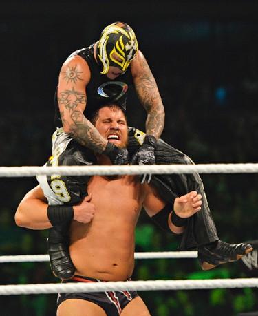 Rey Mysterio rides Micheal McGillicutty during their WWE Smackdown match at Scotiabank Place in Ottawa on Tuesday, September 11, 2012. (Matthew Usherwood/ Ottawa Sun/ QMI AGENCY)