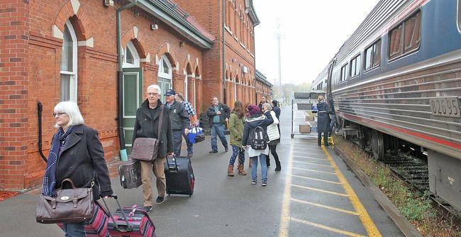 Via Rail passengers board the train.