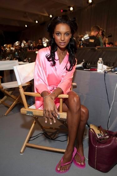 Jasmine Tookes backstage at the Victoria's Secret Fashion Show at the Lexington Avenue Armory in New York City, Nov. 7, 2012. (Jeffrey Clark Grossman/WENN.com)