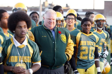 Toronto Mayor Rob Ford with members of the Don Bosco football team at Easter Shiner Stadium in North York Thursday, Nov. 8, 2012. (MICHAEL PEAKE/TORONTO SUN)