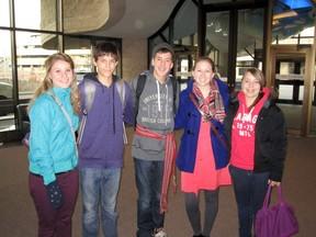 (Left-right) Karina Manz, Jarrod Dexatrase, Jourdain Thibert, Katherine Pernal and Megan Ebbett recently attended a three-day youth forum in Ottawa. (Submitted)