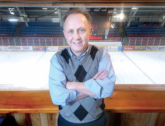 SCOTT WISHART The Beacon Herald Beacon Herald managing editor John Kastner visited the site Friday where his career began 33 years ago, the Memorial Press Box at the William Allman Arena.