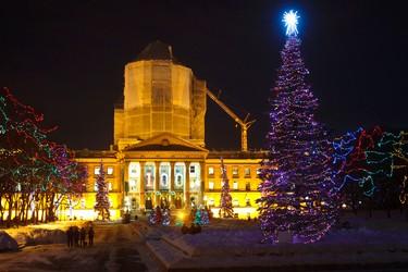 The Legislature grounds are illuminated during the Celebrate the Season light up at the Alberta Legislature Building in Edmonton, Alta. on Thursday, Dec. 6, 2012. Codie McLachlan/Edmonton Sun/QMI Agency