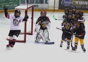 Kirkland Lake's Rylan Thomas celebrates after scoring this goal against Temiskaming Shores Saturday.