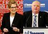 Ontario Premier Kathleen Wynne and Toronto Mayor Rob Ford. (Reuters file photos)