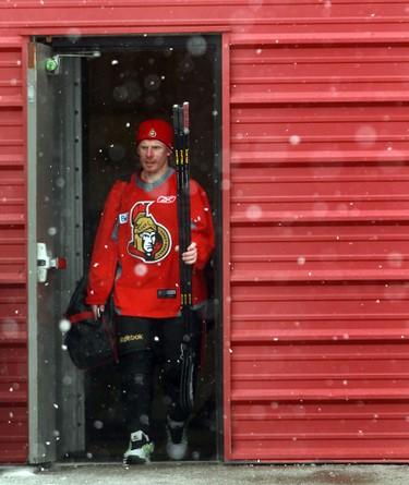Ottawa Senator Daniel Alfredsson leaves practice at Bell Sensplex in Ottawa, Ont. Wednesday Feb 27, 2013.  Tony Caldwell/Ottawa Sun/QMI Agency