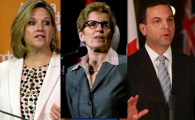 NDP Leader Andrea Horwath, Premier Kathleen Wynne and PC Leader Tim Hudak. (Toronto Sun files)