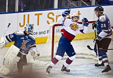 Edmonton's Michael St. Croix celebrates a goal on Kootenay's Mackenzie Skapski during the third period of the Edmonton Oil Kings' WHL playoff game against the Kootenay Ice at Rexall Place in Edmonton, Alta., on Sunday, March 24, 2013. Codie McLachlan/Edmonton Sun/QMI Agency