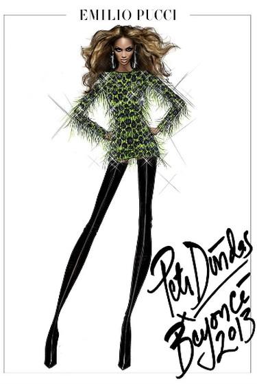 A sketch of a Beyonce costume by designer Emilio Pucci. (emiliopucci.com)