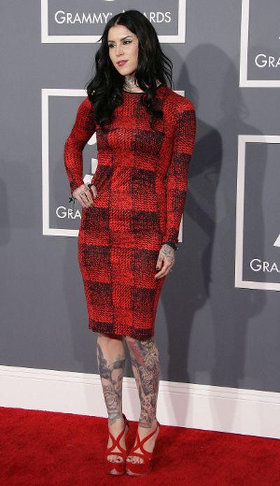 "Kat Von D wore this Derek Lam dress at the Grammy Awards this year. (Adriana M. Barraza/<A HREF=""http://www.wenn.com"" TARGET=""newwindow"">WENN.COM</a>)<br><div id=""pd_rating_holder_6820683""></div> <script type=""text/javascript""> PDRTJS_settings_6820683 = { ""id"" : ""6820683"", ""unique_id"" : ""default"", ""title"" : """", ""permalink"" : """" }; </script> <script type=""text/javascript"" src=""http://i0.poll.fm/js/rating/rating.js""></script>"