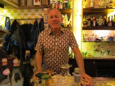Moeders owner Jurriaan van der Reijden, behind the bar at the Amsterdam restaurant. DIANE SLAWYCH PHOTO