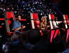 Adam Levigne, Shakira, Usher, and Blake Shelton as judges on The Voice. (NBC)