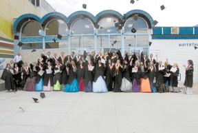 The traditional cap toss ended Mayerthorpe Junior Senior High School`s graduation ceremony on Saturday, June 29.