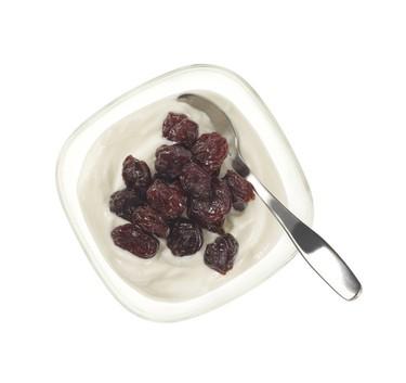 Cherry Berry Yogurt - plain Greek yogurt and 1/4 cup dried cherries (Mark Olson, Longo's)