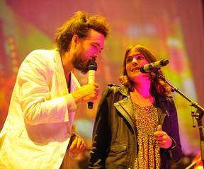 Alex Ebert, lead singer of Edward Sharpe and the Magnetic Zeros, and backup singer Jade Castrino. (Postmedia Network file photo)