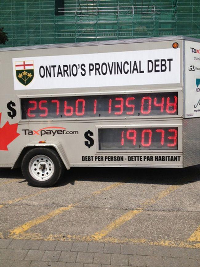 Ontario Debt Clock at Queen's Park on Aug. 28, 2013. (Sue-Ann Levy/Toronto Sun)