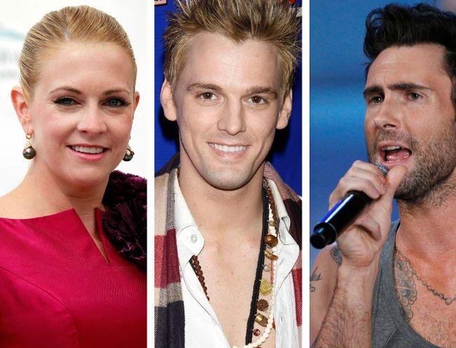 Composite image of Melissa Joan Hart, Aaron Carter and Adam Levine. (Reuters)