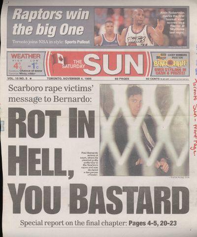 Toronto Sun frontpage November 4, 1995.