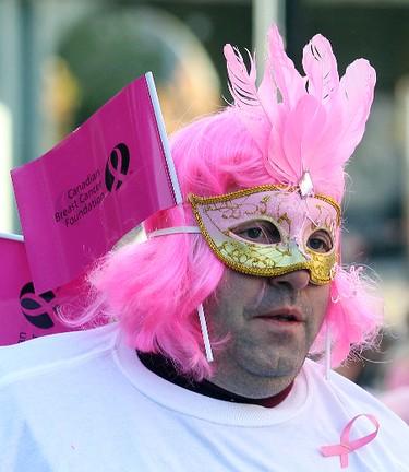 Paul Wolensky wears pink during the Run For the Cure in Winnipeg, Man. Sunday October 06, 2013. BRIAN DONOGH/WINNIPEG SUN/QMI AGENCY