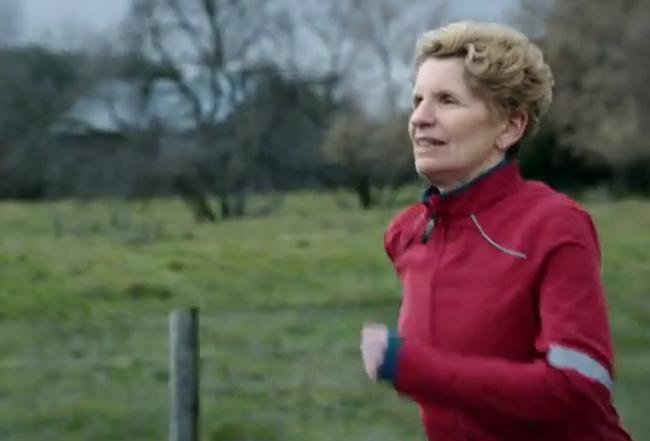 Premier Kathleen Wynne runs in a new Liberal ad released Wednesday, Nov. 13, 2013. (Framegrab)