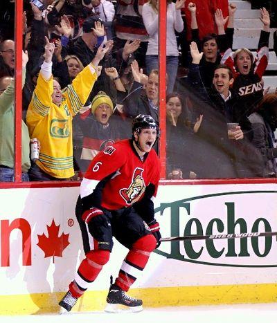 Ottawa Senators' Bobby Ryan celebrates his goal against the Boston Bruins' during NHL action in Ottawa, Ont. on Friday November 15, 2013. Errol McGihon/Ottawa Sun/QMI Agency