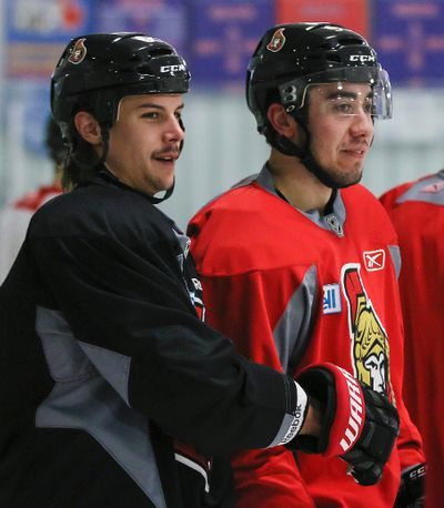Ottawa Senators' Erik Karlsson (L) and Mika Zibanejad during practice at the Sensplex on Friday November 22,2013. Errol McGihon/Ottawa Sun/QMI Agency