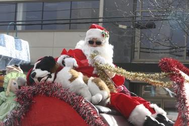 Santa arrives along the route of  the Lakeshore Christmas Parade in south Etobicoke on Saturday December 7, 2013.   Veronica Henri/Toronto Sun/QMI Agency