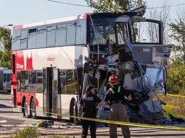Scene of a fatal bus and train crash near the Fallowfield Transit Station in Ottawa, Ont., September 18, 2013. Errol McGihon/Ottawa Sun/QMI Agency