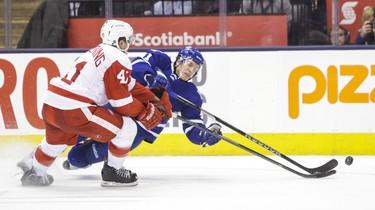 Toronto Maple Leafs' Nikolai Kulemin and Detroit Red Wings' Luke Glendening during overtime at the Air Canada Centre on December 21, 2013. (Ernest Doroszuk/Toronto Sun/QMI Agency)