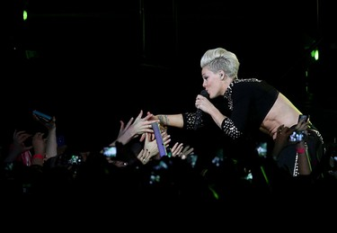 Pink performs at Rexall Place in Edmonton, Alta., on Thursday Jan. 16,  2014. David Bloom/Edmonton Sun/QMI Agency