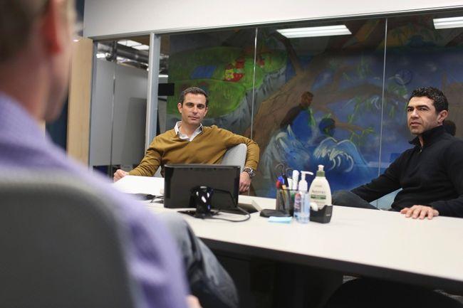 Dan Rose (C), Facebook's head of corporate development and partnerships, leads a meeting at Facebook headquarters in Menlo Park, Calif., Jan. 14, 2014. REUTERS/Robert Galbraith