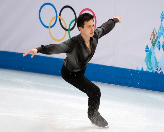 Patrick Chan performs during team men's short program at the 2014 Winter Olympic Games in Sochi, Russia, Feb. 6, 2014. (BEN PELOSSE/QMI Agency)