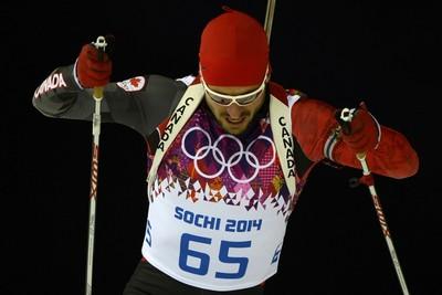 Jean-Philippe Le Guellec (Shannon, Que.) Biathlon, men's individual 20 km Finished 35th. (AFP PHOTO / PIERRE-PHILIPPE MARCOU)