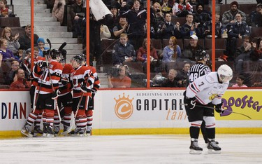 Ottawa 67�s celebrate a goal against Owen Sound during third period OHL Hockey at the Canadian Tire Centre in Ottawa on Monday, Feb. 17, 2014. (Matthew Usherwood/ Ottawa Sun)