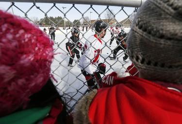 The Ottawa Senators hockey team took to the ice at Jules Morin Park in Ottawa for an outdoor practice on Thursday February 20, 2014. Darren Brown/Ottawa Sun/QMI Agency