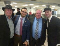 Left to right, Randy Ford, Amin Massoudi, Mayor Rob Ford and Jimmy Kimmel. (Photo: Twitter @a_massoudi)