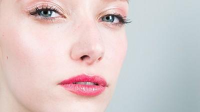 A glossy rose-gold eye and luminous skin at David Dixon. (Photo: Jake Rosenberg, The Coveteur/Maybelline)
