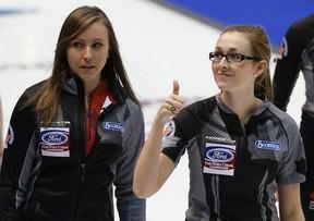 Team Canada's Alison Kreviazuk (right) and skip Rachel Homan at the World Women's Curling Championships in Saint John, N.B., last week. REUTERS/Mathieu Belanger