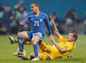 Ukrainian international Oleh Husyev is seen here during an international friendly against Italy in 2011. (REUTERS)