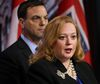 Ontario Progressive Conservative leader Tim Hudak along with energy critic Lisa MacLeod address media at Queen Park on March 27, 2014. (Michael Peake/Toronto Sun)