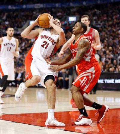 Raptors' Greivis Vasquez drives against the Houston Rockets on April 2. ( Michael Peake/Toronto Sun)
