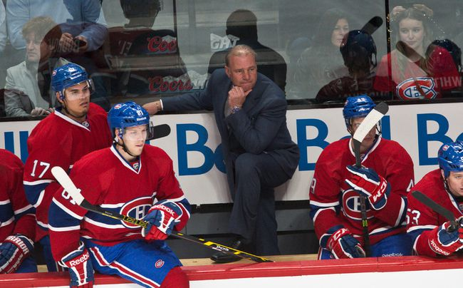 Michel Therrien behind the Montreal Canadiens bench. (BEN PELOSSE/QMI AGENCY)