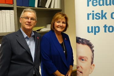 "Bob Jones and Annitta Stenning are supporting CancerCare Manitoba's ""Kick Cancer"" campaign."