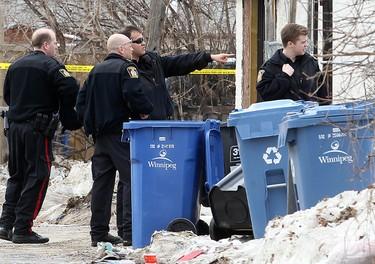 Winnipeg Police investigate after a male was shot in the 600 block of Manitoba Avenue in Winnipeg, Man. Monday April 07, 2014. Brian Donogh/Winnipeg Sun/QMI Agency