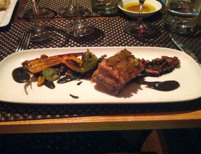 An expertly prepared pork-belly course at Miradoro Restaurant at Tinhorn Creek Vineyards in Oliver, B.C. KERRI BREEN/QMI AGENCY