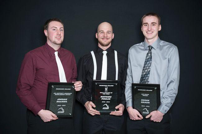 Jordan MacNeil (Jim Matchett Recipient), Mathieu Poulin (Male Athlete of the Year), Derek Braun (Les Zoltai Recipient)